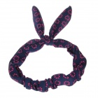 YF001 Cute Flower Pattern Rabbit Ear Style Hair Band Strap - Dark Blue + Rose Pink (2PCS)