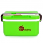 De mano de doble capa PP Lunch Box w / Cuchara - Verde + Negro