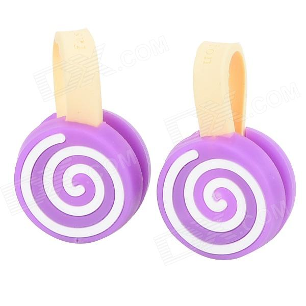 Lollipops Style Cartoon Silicone Cable Management Ties - Purple + White (2 PCS)