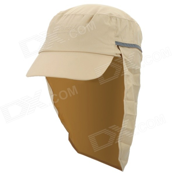 OUTFLY A13008 Outdoor Polyester Sunproof Hat / Cap w/ Removable Skirt for Men - Khaki outfly b12038 men s uv protection visor cap hat w detachable mask deep blue