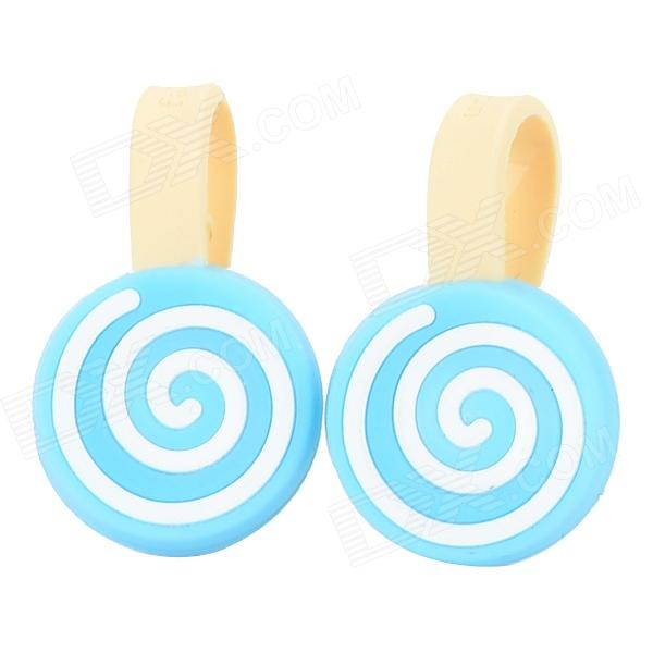 Lollipops Style Cartoon Silicone Cable Management Ties - Blue + White (2 PCS)