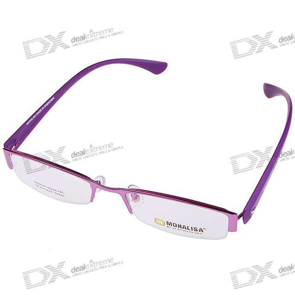 Monalisa Alloy Half Frame Glasses/Spectacles with Protective Case (Purple)