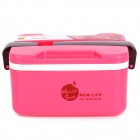 Handheld Dual-layer PP Lunch Box w/ Spoon - Red + Black