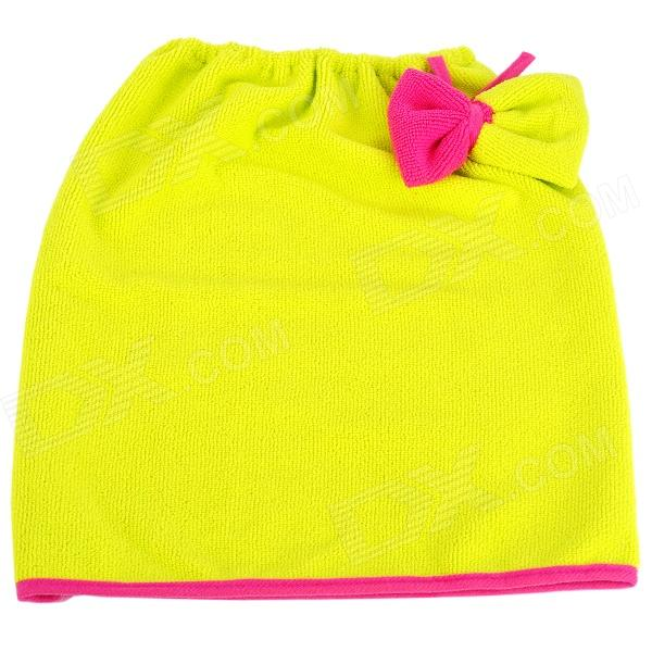 Bow Pattern Moisture-wicking Fiber Hair Drying Towel - Yellow + Red