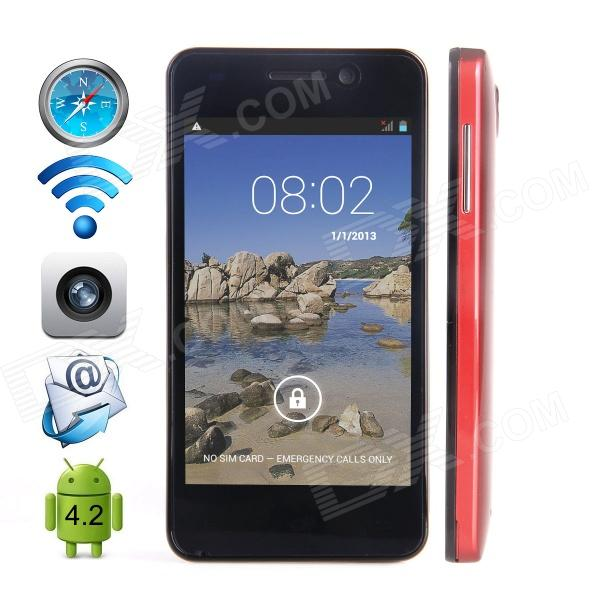 CUBOT GT90 Dual-Core Android 4.2 WCDMA Bar Phone w/ 4.0, Wi-Fi, GPS and Dual-SIM - Red cubot gt95 dual core android 4 4 2 wcdma bar phone w 4 0 ips wi fi and dual sim white blue