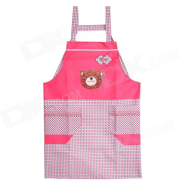 Grid Pattern Cute Polyester Kitchen Apron - Red + Brown + Multicolored t54648 fashionable bow kitchen cooking cotton apron red black