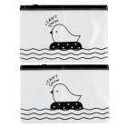 WJD-02 Cute Chick Pattern PVC File Bags - Translucent + Black (2 PCS)