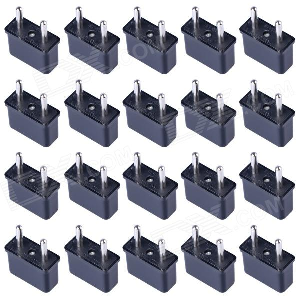 HW01 Rectangular US to EU Socket AC Power Adapter - Black (20 PCS / 125~250V)Plugs &amp; Sockets<br>Form  ColorBlackModelHW01Quantity20 DX.PCM.Model.AttributeModel.UnitMaterialABSFireproof MaterialNoTarget Country &amp; RegionUSA and worldwideRate Voltage125-250VRated Current6 DX.PCM.Model.AttributeModel.UnitRated Power750~1500 DX.PCM.Model.AttributeModel.UnitCompatible PlugUS Plug,EU Plug (2-Round-Pin Plug)GroundingNoOutlet1 DX.PCM.Model.AttributeModel.UnitWith Switch ControlNoSurge Protection FunctionNoLightning Protection FunctionNoWith FuseNoPower AdapterEU PlugPacking List20 x Plugs<br>