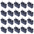 HW01 Rectangular US to EU Socket AC Power Adapter - Black (20 PCS / 125~250V)
