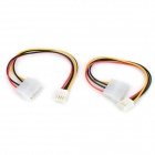 Large 4-Pin to Small 4-Pin IDE Power Supply Cable - White + Black (2 PCS)