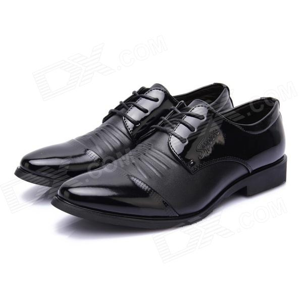 Fashion Business Style Pointed Corium Lace Shoes - Black (Size 43)