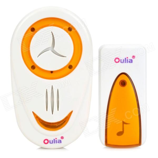 3-in-1 Wireless Door Bell w/ Remote Control - White + Orange door bell wireless door bell 2 buttons 3 receivers 350m remote control 48 song waterproof wireless doorbell 20 22w