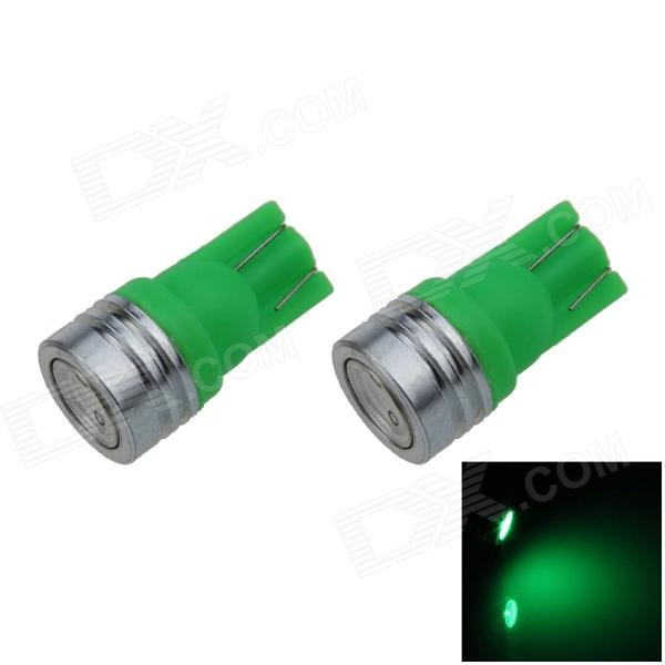 T10 / W5W 1W 100lm 1-COB LED Green Car Side Light / Clearance / Reading Lamp (12V / 2Pcs)