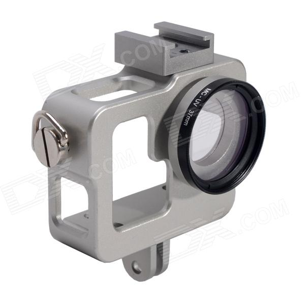 Fat Cat CNC Aluminum Alloy Extension Ultra Heat-Sink Case w/ 37mm MCUV Lens for Gopro Hero 4/ 3+ / 3