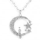 Moon Stars Style Pendant Necklace for Women - Silver