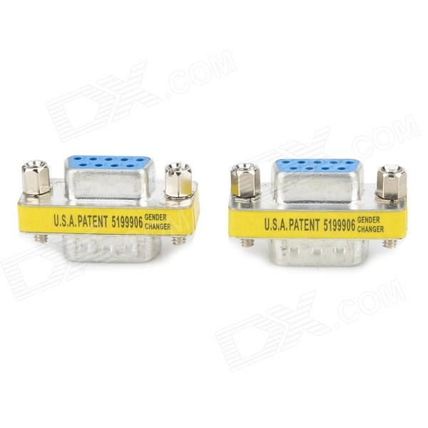 RS232 COM Male to Female Serial Extender Adapters - Blue + Silver (2 PCS) jiahui rs232 com male to male adapter connectors silver 2 pcs