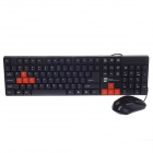 R8 KB-1900 Waterproof PS2 Wired 104-key Keyboard + USB Wired Mouse Set - Black + Orange