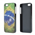 2014 World Cup Brazilian Flag Pattern Aluminum Alloy Case w/ Card Slot for IPHONE 5 / 5S - Deep Blue