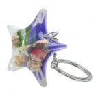 Starfish Style Aquatic Shell Acrylic Stainless Steel Keychain - Purple + White + Multicolored