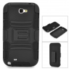 3-in-1 Protective Plastic Back Case w/ Stand for Samsung Galaxy Note II / N7100 - Black