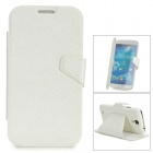 Protective Flip Open PU Leather + PC Case w/ Stand for Samsung S4 i9500 - White