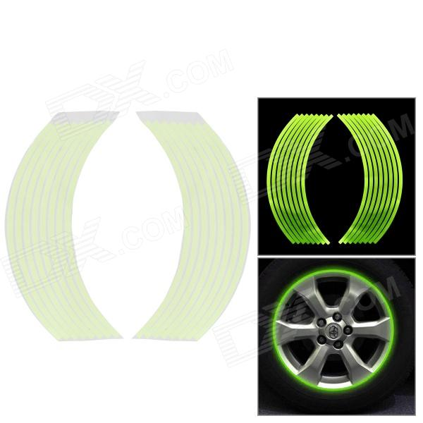 18'' Motorcycle Steel Tyre Reflective Glow-in-the-dark Sticker - Fluorecent Green