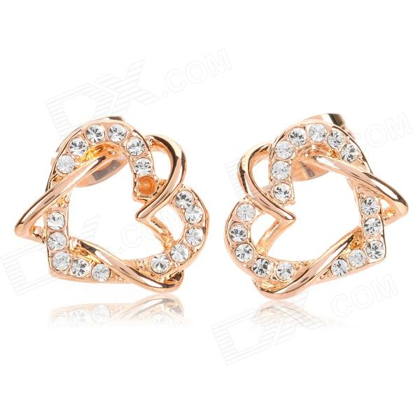 330601 Closer Hearts Style Earrings for Women - Golden + Translucent White (Pair) цена