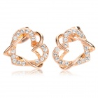 330601 Closer Hearts Style Earrings for Women - Golden + Translucent White (Pair)