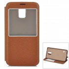 S-What Protective Flip Open PU + PC Case w/ Stand / Display Window for Samsung Galaxy S5