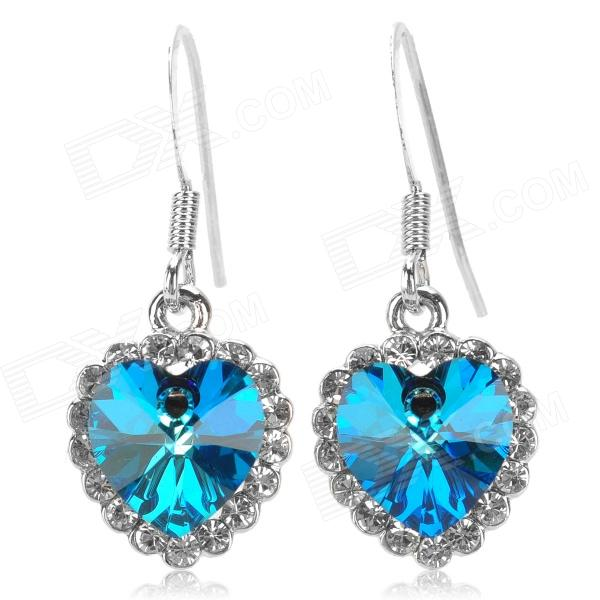 Regent 170002 Crystal Earrings for Women - Blue + Transparent + Multi-Colored (Pair) regent 170002 crystal earrings for women blue transparent multi colored pair