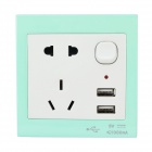 EU / AU / Dual-USB Wall Mount Power Socket w/ Switch - White + Light Blue