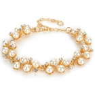 Diamond Pearl Bracelet for Women - Golden + White