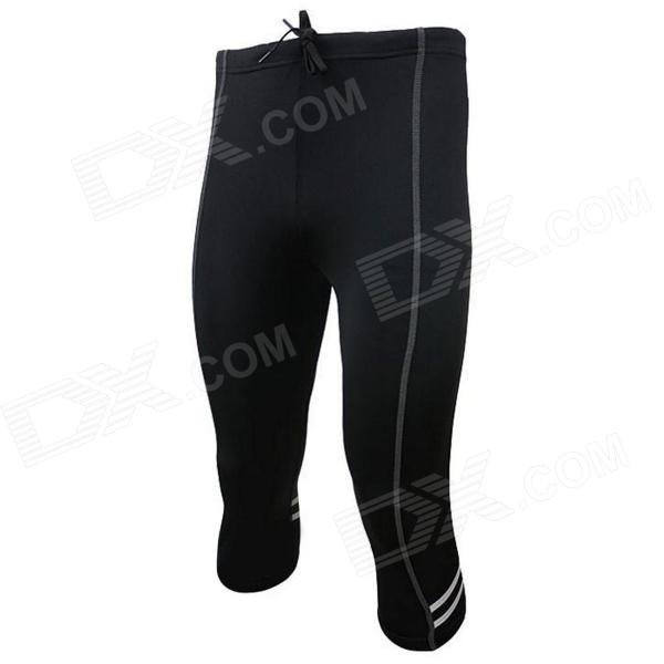 ARSUXEO AR113 Sports Quick Dry Skinny Seventh Pants for Cycling / Running - Black (XL)