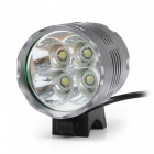 Marsing 4-LED 4000lm 3-Mode Cool White Bicycle Light / Headlamp - Black (6 x 18650)