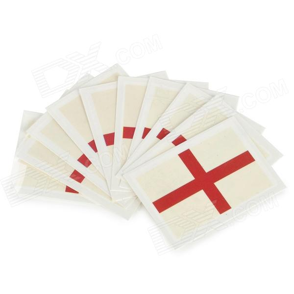 England Flag Style Body Paper Stickers - Red + White (10 PCS)