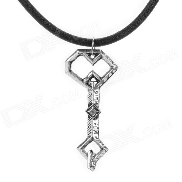 Key Style Pendant Necklace - Black + Silver + Multi-Colored