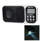 "Hi-Rice SD-102 Mini Portable 1.2"" Screen Media Player Speaker w/ FM / TF - White + Black"