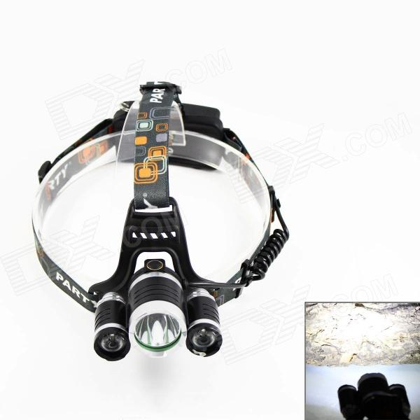 KINFIRE K-30 3-LED 2100lm 4-Mode White Headlamp - Black (2 x 18650) - DXHeadlamps<br>Suitable for camping hiking go fishing or other outdoor sports.<br>