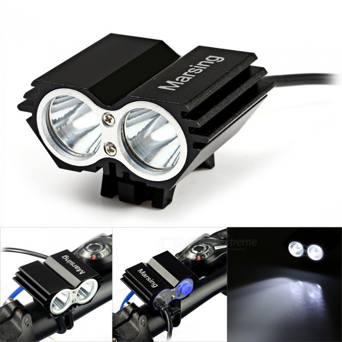 Marsing B22 2-LED 1200lm 3-Mode White Mountain Bike Light / Headlamp - Black (4 x 18650) marsing cree xm l u2 1000lm 3 mode cool white bike light headlamp black 4 x 18650