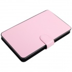 "Micro USB Connected Keyboard Protective PU Leather + Plastic Case Stand for 7~7.85"" Tablet PC - Pink"