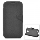 Protective Flip Open PU Leather + PC Case w/ Stand for Samsung S4 i9500 - Black
