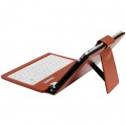 "Litchee Pattern Micro USB Connected Keyboard PU Leather Case Stand for 7"" Tablet PC - Brown"