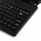 "Litchee Pattern Micro USB Connected Keyboard PU Leather Stand Case for 7"" Tablet PC - Black"
