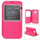 S-What Protective Flip Open PU + PC Case w/ Stand / Display Window for Samsung Galaxy S5 / i9600