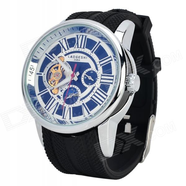 LAOGESHI 398A Men's Stylish Analog Mechanical Tourbillion Wristwatch - Black