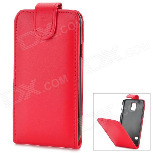 Protective Top Flip Open Case w/ Card Slot for Samsung Galaxy S5 - Red protective flip open pu case w stand card slots for samsung galaxy s4 active i9295 black