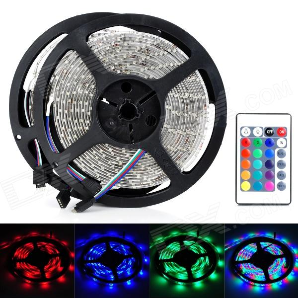 Waterproof 24W 1800lm 600 x SMD 3528 LED RGB Flexible Light Strip w/ 24-Key Controller (DC 12~24V) waterproof 300 3528 smd led rgb flexible strip w 24 key controller 12v 5m