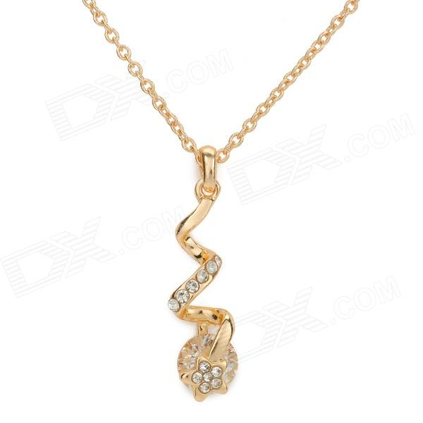 SHIYING a01456 Water Drop Style Necklace - Golden + Transparent gorgeous 60cm length golden thick braided wheat chain necklace for men