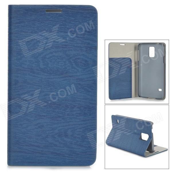 Protective PU Flip Open Case w/ Stand / Card Slots for Samsung Galaxy S5 - Deep Blue heart pattern pu tpu protective flip open case for samsung galaxy s5 mini blue