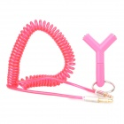 012 3.5mm Male to Male Spring Audio Cable + Male to Female Adapter - Deep Pink (46cm)